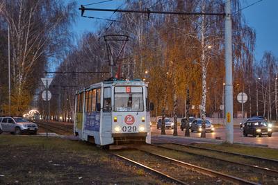 *** трамвай осень вечер