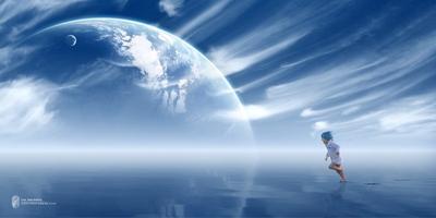 Freedom | Свобода космос будущее девочка синий белый вода отражение море планета спутник луна свобода брызги волны облака