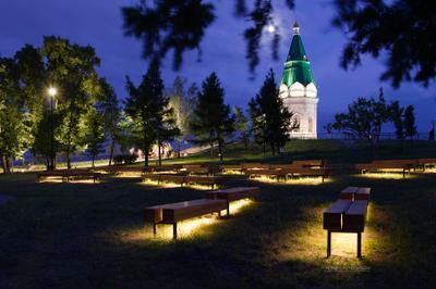 У вечерней часовни II город Красноярск Сибирь лето вечер огни прогулка часовня