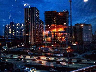 *** город ночь огни вечер дорога дом небо
