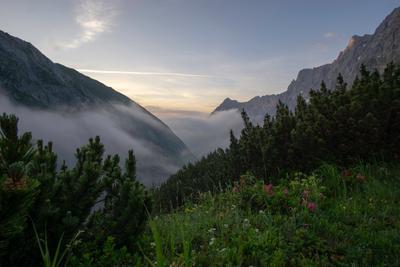 Рассвет в Карвендель горы Альпы Австрия Карвендель туман поход природа пейзаж рассвет