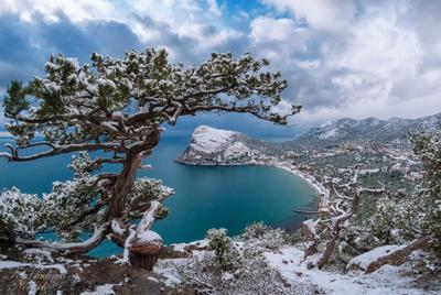 Зима и снег в Крыму. НовыйСвет Судак Крым