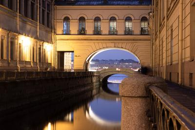 Наб. Зимней канавки архитектура город ночь Санкт-Петербург река канавка