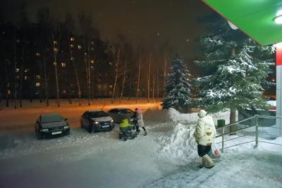..морозный вечер.. город мороз снег сугробы ночь улица