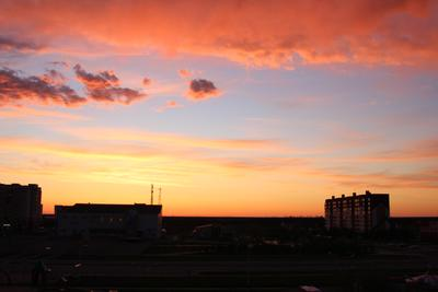 Закат город закат в розовом цвете волшебно засыпает