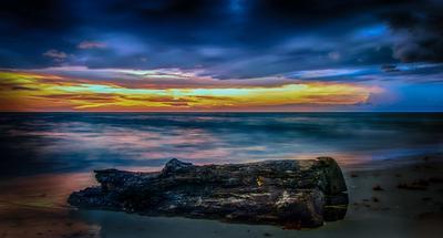 Закат закат бревно океан небо