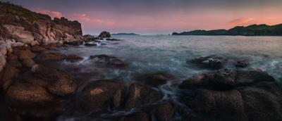 *** панорама вечер море скалы камни