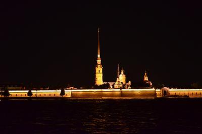 Крепость петропавловская крепость ночь нева санк-петербург