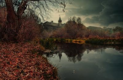 мрачный вечер на реке Смотрич II речка камыш непогода небо тучи трава деревья осень отражение замок Смотрич Каменец-Подольский