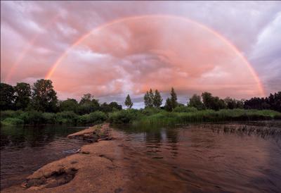arco iris  радуга закат речка дамба после дождя