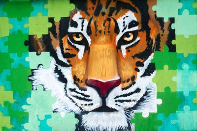 Отличное  граффити! тигр граффити москва россия