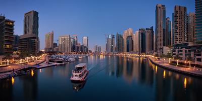 Панорама Дубаи Марина на рассвете Dubai Marina Дубаи Марина