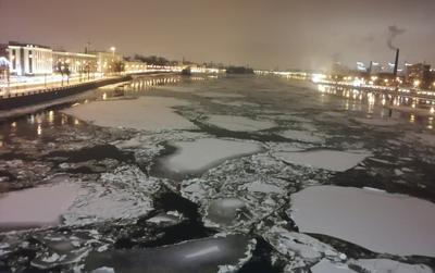 Вечером Нева Декабрь 2020 Санкт-Петербург снег лёд вода