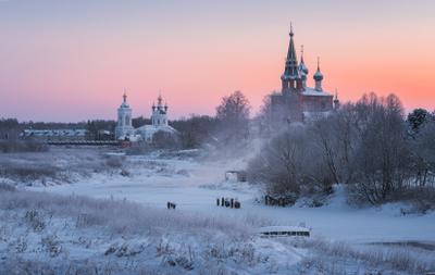Зимняя открытка из Дунилово утро зима рассвет пейзаж
