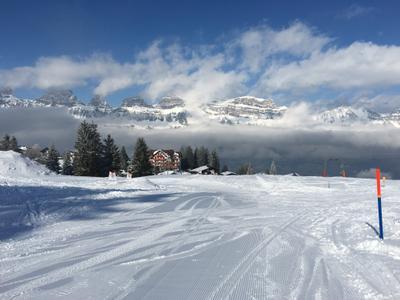 Синяя трасса горы Швейцария горные лыжи зима снег