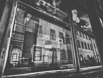 *** city black white street old reflection windows