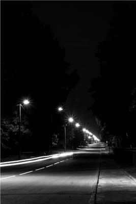 Night road Черно-белая дорога ночь Беларусь Полоцк