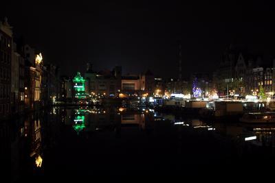Амстердам Ночь Амстердам пристань