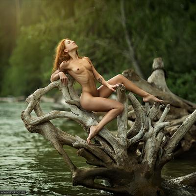 Angelina girl sun beach water green wood