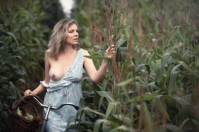*** девушка ню грудь обнажённая красивая голая поле кукуруза