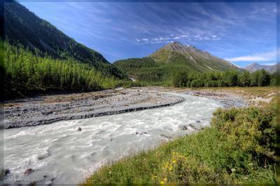 В долине Иедыгема горы алтай река вода поход лето небо трава кедры