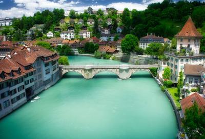 мостик город мост река