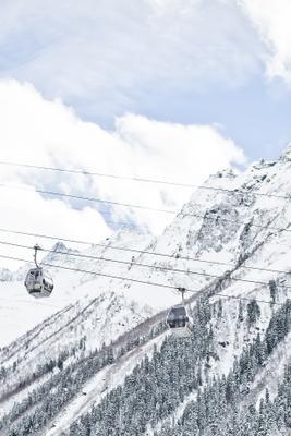 Канатная дорога, Домбай природа горы пейзаж горнолыжный курорт снег канатка канатная дорога