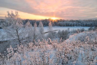 Зимний закат. Зима закат