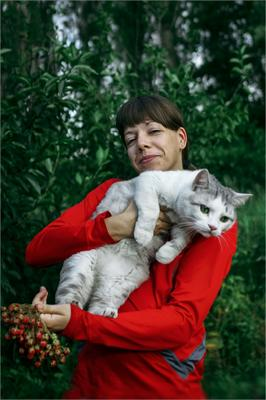 портрет девушки с котиком лето портрет девушка кот