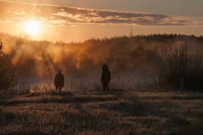 Волшебный туман рассвет река туман