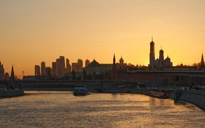 Московский закат Москва закат Кремль река