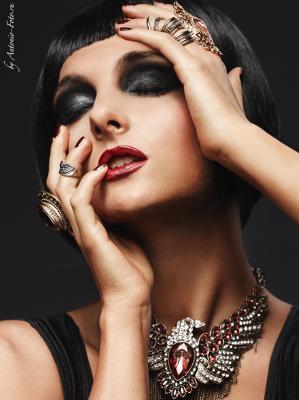 *** beauty, black, dark, eagle, face, lips, make-up