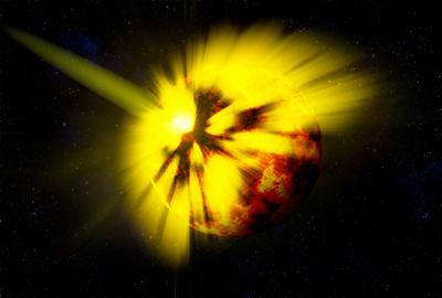 С неба звёздочка упала космос планета астероид столкновение space planet asteroid collision Big bada boom