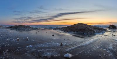 Песчаные горы Финского залива финский залив закат лед песок