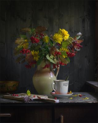 С калиной (2) осень дача калина букет кувшин цветы