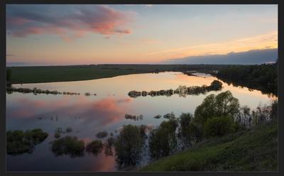 большая вода разлив вода вечер закат цветные сны