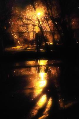 Вечерний свет роняют фонари.