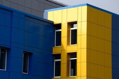 *** nikkor архитектура синий желтый колорит город