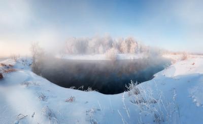 Морозный Иж Иж река зима мороз туман зимняя морозное утро
