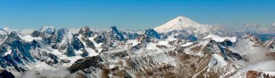 ***Панорама Кавказских вершин Кавказ Донгузорун Эльбрус