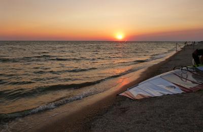 коса Должанская Должанская коса закат виндсерфинг парус море азовское пляж