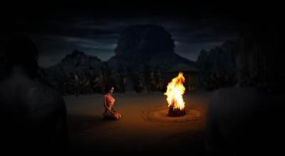 Обряд девушка ню племя Африка ночь обряд коллаж свет тень огонь натура пейзаж