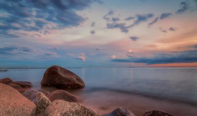 Камни Финского залива пейзаж море вечер камни заакт
