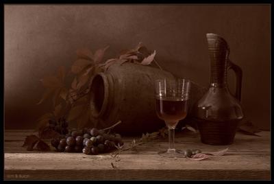 натюрморт с молодым вином вино, виноград