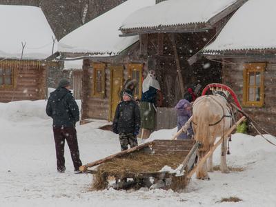 Масленница Масленница зима снег сани лошадь изба
