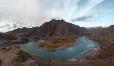 Стрелка Чуи и Катуни Алтай республика горный река горы осень Чуя Катунь