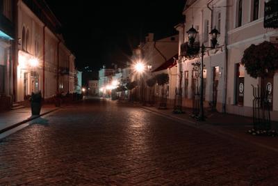 Ночной город Ночной город свет силуэты Гродно Беларусь огни