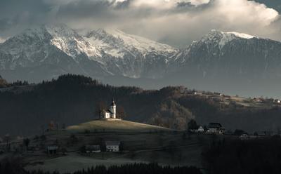 Холмы Словении словения пейзаж церковь зимний