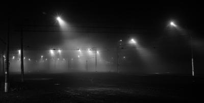 *** дорога железная жд ночь вечер фонари свет тень поездка туман