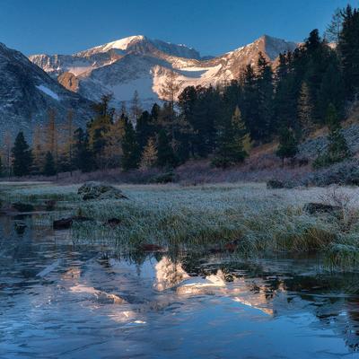 морозное утро на Крепком озере
